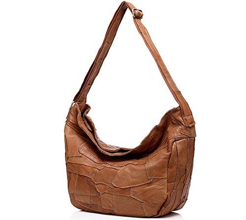 Moonsister Damen Mädchen Echts Leder Umhängetasche, Broschierung Schultertasche, Große Kapazität Schultertasche Freizeit Tasche Handtasche, Schwarz Braun