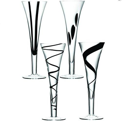 LSA Glassware Jazz Assortiment de décoration-Flûte à Champagne-Noir-Lot de 4