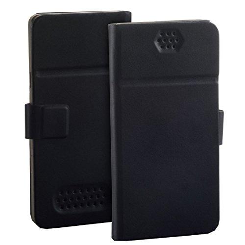 Universal Bookstyle Handy Tasche mit Klebepad Cover Hülle Etui in Schwarz - XL - für kompatible Haier Mobiltelefone