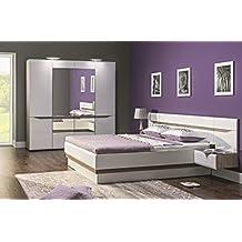 Schlafzimmer Komplett LINN Weiß Hochglanz Set A Schrank 4 Tür Soft Close  Bett 180x200