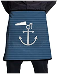 a64d7451350 GDESFR Apron with Pock,Striped Anchor of Sea Unisex Fashion Half Body Waist  Chef Aprons