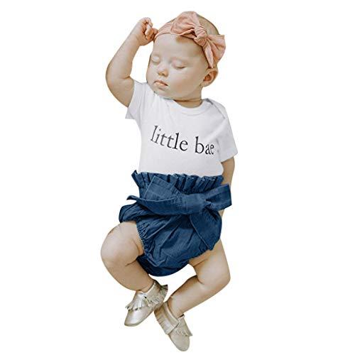 CAOQAO Abbigliamento Infantile Neonatale per Bambini/Alfabeto Stampato Haberdash Top Manica Corta Moda + Pantaloncini in Denim Casual Set/Cotone/Bianco / 70-100