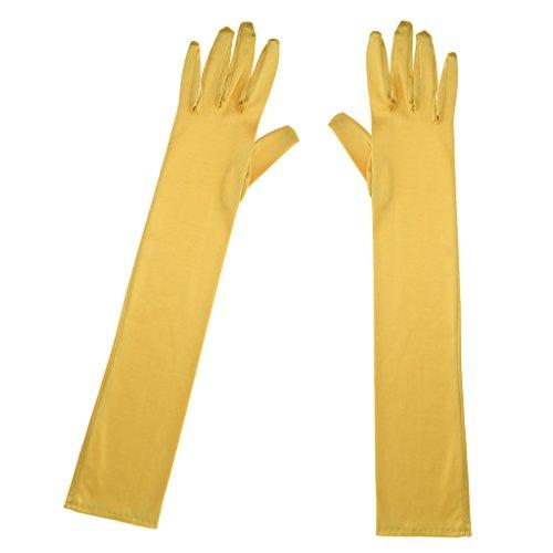 tin Handschuhe Ellbogenlänge Abendhandschuhe für Damen, 52cm - Gold (Ellbogenlange Spitze Handschuhe)
