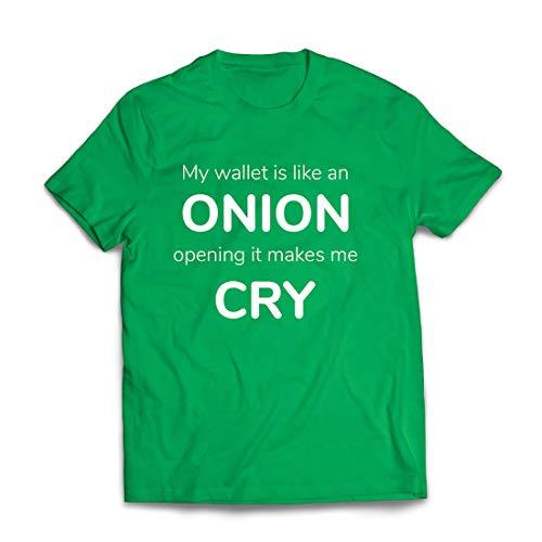 lepni.me Männer T-Shirt Meine Brieftasche ist wie eine Zwiebel, Kein Geld Lustiger Job, Büro-Humor (Medium Grün - Geburtstags Kostüm Partei Ideen