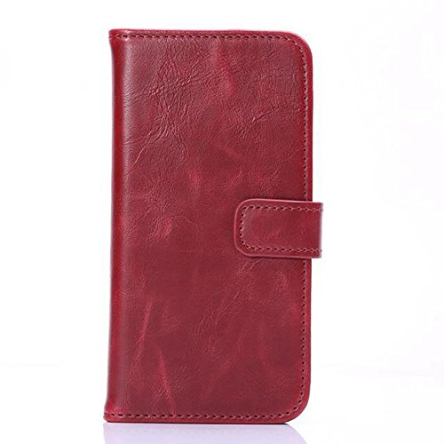 Stand Feature Crazy Horse Texture Case pour iPhone 6 et 6s Faux Leather Wallet Pouch Case, Horizontal Folio Case Cover avec Kickstand & Card Slots & Magnetic Closure JING ( Color : Red ) Red