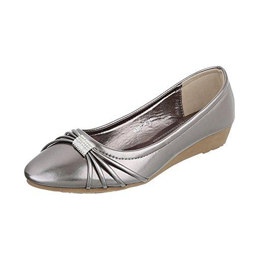 Ital-Design - Scarpe con plateau Donna grigio argento
