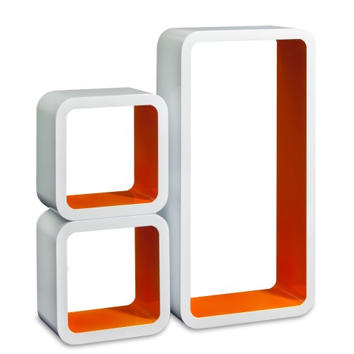 Homestyle4u Retro Wandbehang CD-Regal Bücherregal Würfel-Set of 3, Orange, Small