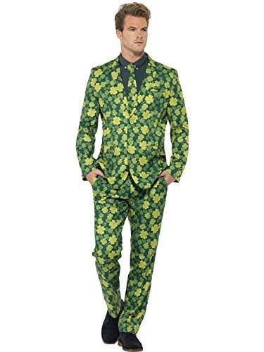 Men'S Green Irish Shamrock Stand Out Suit Fancy Dress Costume