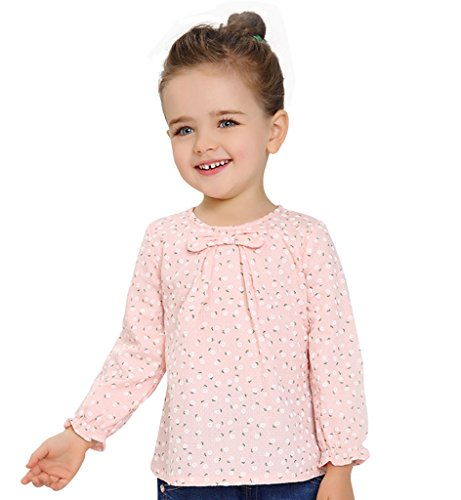 Surenow Camicetta da Bambina Manica Lunga Girocollo Cravatta a Farfalla Camicia Floreale per Bambine Ragazza