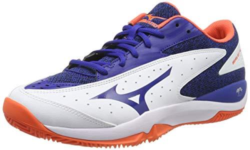 Mizuno Wave Flash AC, Scarpe da Tennis Uomo, Bianco (White/Reflex Blue/Nasturtium 27), 42 EU