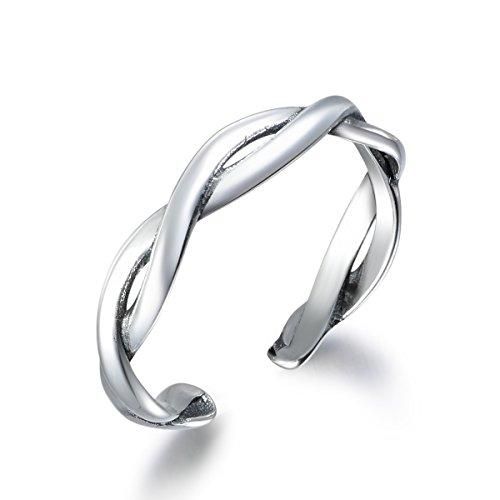 snorso Twisted Waving 925Sterling Silber verstellbar Ewigkeit Ringe Chevron Ring für Frauen (Silber Midi-ring Chevron)
