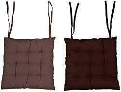 CPM Handlooms Cotton Plain Big Chair Pad Buy one Color Get one color Free offer - Taupe & Chocolate