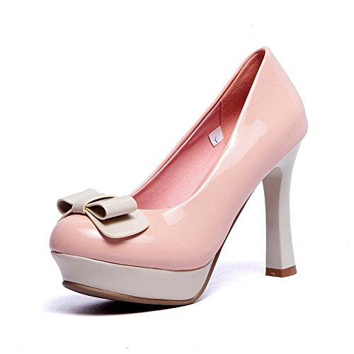 AllhqFashion Damen Gemischte Farbe Lackleder Hoher Absatz Ziehen Auf Rund Zehe Pumps Schuhe Pink