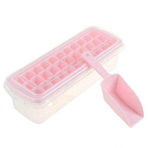 Trada Eiswürfelschale, Eis Würfel Behälter Kasten mit Deckel Getränk Gefrierschrank Heimgebrauch Vorratsbehälter Eiswürfel Box Eiswürfelbehälter Eiswürfelform, für Partys und Bars (Rosa) (Box, Mit Bar-box 12)
