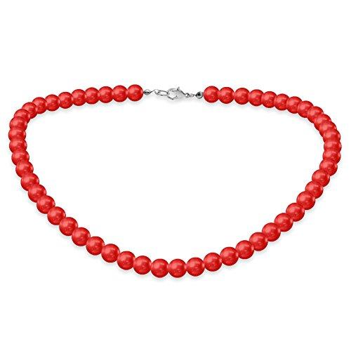 Eine süße SoulCats Kette Perlenkette Perlen viele Farben XXl kurz pink blau creme, Farbe:rot;Kettenlänge:42 cm