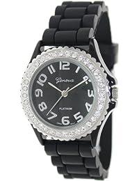 Geneva Platinum Women's 6886.BLACK.SILVER Black Silicone Quartz Watch with Black Dial