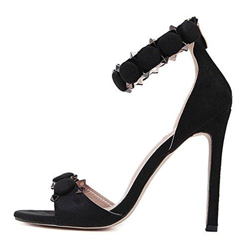 Aisun Femme Sexy Talon Haut Aiguille Rivets Sandales Noir