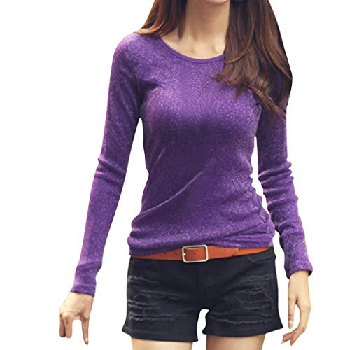 Auiyut Damen Langarmshirt Stretch Lang T-Shirt Rundhals Ausschnitt Longshirt Tunika Bluse Sweatshirt Hemd Basics Shirt Tunic Top Oberteil