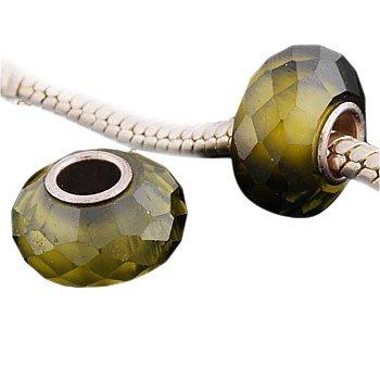 Andante-Stones 925 Sterling Silber Zirkonia Bead Facettiert (Olivgrün) Element Kugel für European Beads + Organzasäckchen