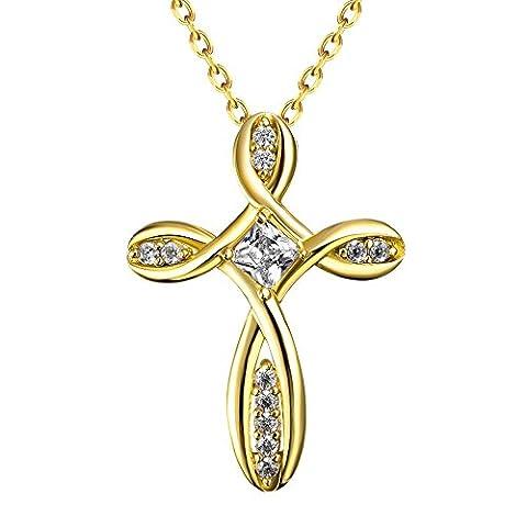 Bodya Plaqué or clair Oxyde de Zirconium Pierre Collier Pendentif Croix chrétienne religieuse Bijoux Chaîne de 50,8cm - jaune or
