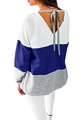 Damen Langarmshirt Casual Winter pulli Gestreift V-Ausschnitt Pullover Oberteil strickpullover