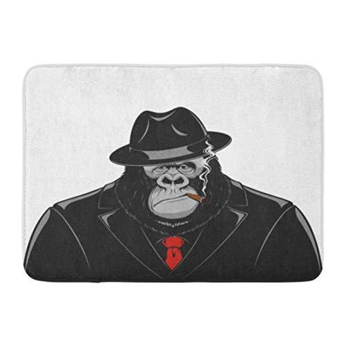 utdoor/Indoor Door Mat Red Gorilla Monkey in Suit Gangster Mafia Cigar Hat Funny Ape Bathroom Decor Rug 15.7x23.6inch/40x60cm; ()
