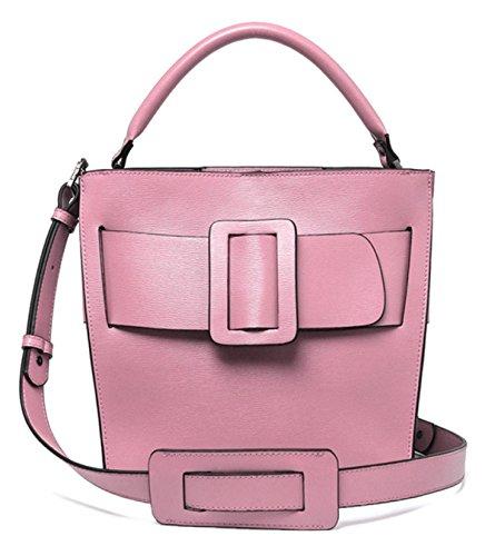 Ms. Autunno E Borsa In Pelle Secchio Grande Fibbia D'inverno Pink