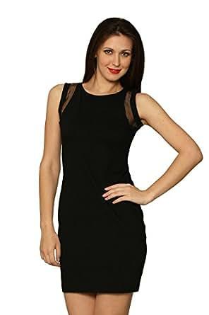 Miss Chase Women's Cotton Panelled Dress (MCS14D02-28-62_Black_Large)