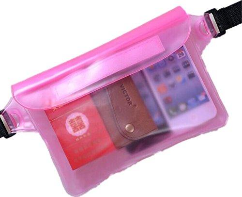 Pack Tasche, wasserdicht, mit Taille Riemen für Tasche Schwimmen Tauchen Tasche Rosa - rose