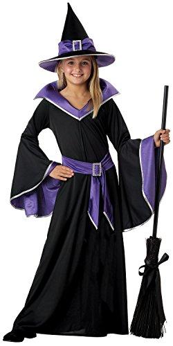 Hexenkostüm für Kinder - Schwarz, Blau - XL - Gr. 152 - 10-12 Jahre (Schwarzes Kleid In Halloween Kostüm)