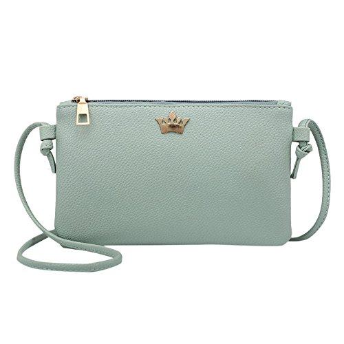 Frauen Krone Abendtasche Retro Handtasche Umhängetasche Damen Mädchen Crossbody Schultertasche Leder Messenger Tasche (Grün) (Retro-tasche)