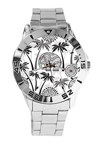 TaiGe - Reloj de Pulsera analógico con diseño de Elefantes y Palmas...