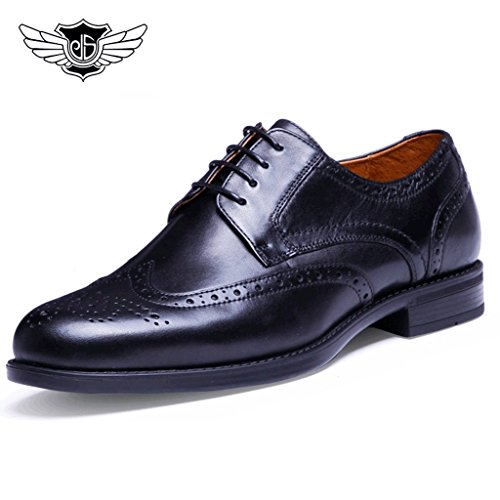 Desai-Black-Real-Leather-Mens-Brogues-Classic-Style-Formal-Office-Derby-Shoes-Lace-Up