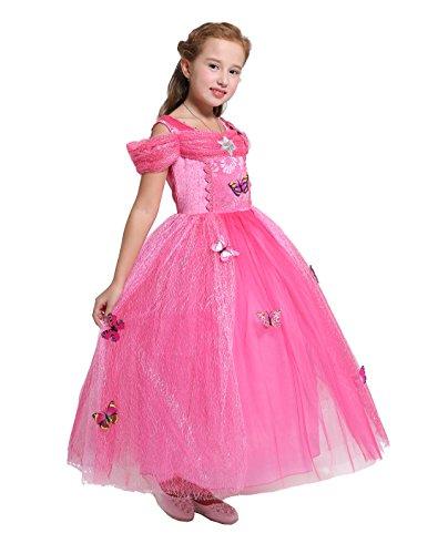 Prinzessin Schmetterlings Kostüm Mädchen - Lito Angels Mädchen Prinzessin Schmetterling Kleid Kostüm Geburtstag Weihnachten Halloween Party Verkleidung Karneval Cosplay Kinder 4 Jahre Heißes Rosa