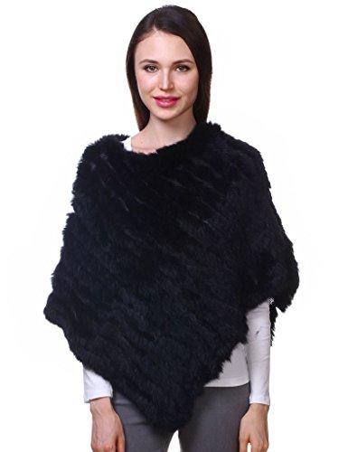 Ferand poncho mantella di vera pelliccia di coniglio lavorata a maglia scialle per donna - nero