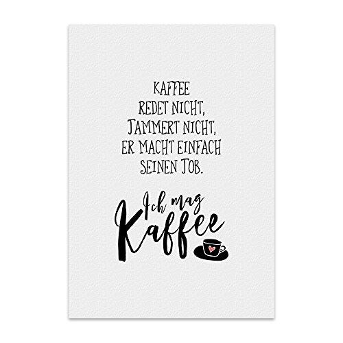 Kunstdruck, Poster mit Spruch – ICH MAG Kaffee – Typografie-Bild auf hochwertigem Karton - Plakat, Druck, Print, Wandbild mit Zitat/Aphorismus als Geschenk und Dekoration