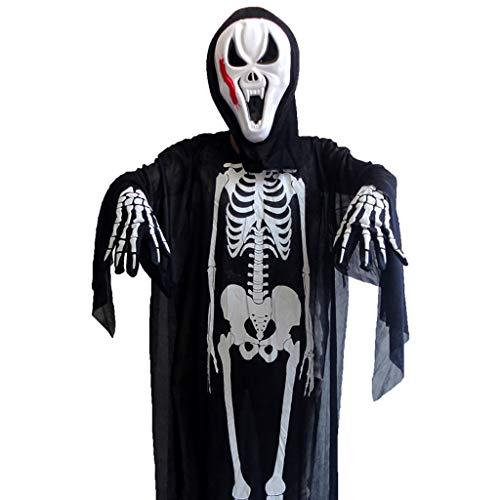 Erwachsene Black Ghost Cape Kostüm Für - LGP Halloween Horror Black Skeleton Ghost Erwachsene Cosplay Ghost Party Tod Teufel Hölle Weiß Ghost Kostüm Einschließlich Skeleton Kleidung, Maske, Stoffhandschuhe,Blackf
