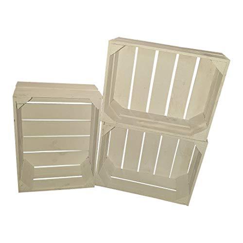 Teramico 3er Set Massive Holzkisten 38 x 28 x 15cm weiß/geflammt/Natur kleine Obstkisten Weinkisten flach Dekokisten Apfelkisten Aufbewahrungsbox Geschenkbox Holztruhe...