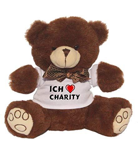 SHOPZEUS Personalisierter Bär Plüschtier mit T-Shirt mit Aufschrift Ich Liebe Charity (Vorname/Zuname/Spitzname) -