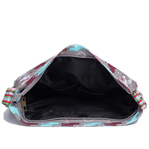 Miss Lulu Damen Katzen Leinwand Schultertasche Umhängetasche Cross Body Messenger Bag Schule Satchel Tasche Katzen Grau