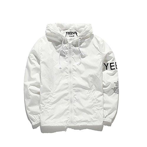 ZEARO Mode Windjacke Jacke Herren Yeezy Saison 3 Kanye West Skateboard Hiphop YEEZUS Streetwear Freizeit Outwear Oberbekleidung Herbst Frühling Weiß