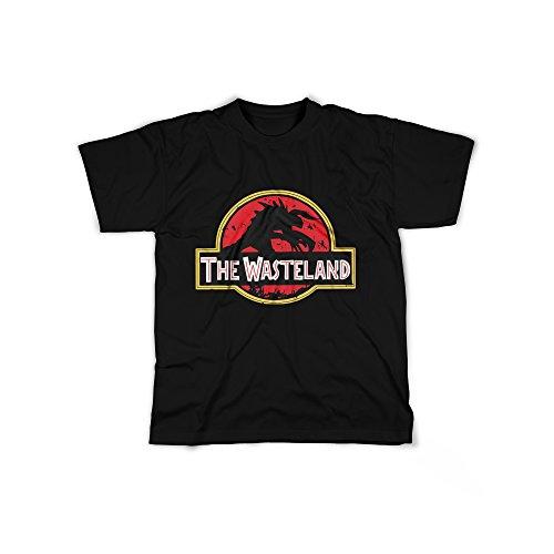 licaso Männer T-Shirt mit Aufdruck in Schwarz Gr. XXL The Wasteland Dinosaurier Design Boy Top Jungen Shirt Herren Basic 100% Baumwolle Kurzarm