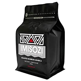Imisozi | Premium Rwandan Mountain Dark Roast Ground Coffee | 250g Bag/Pouch | Ground | 100% Roasted Pure Bourbon Arabica Coffee | Dark Roasted Filter Coffee