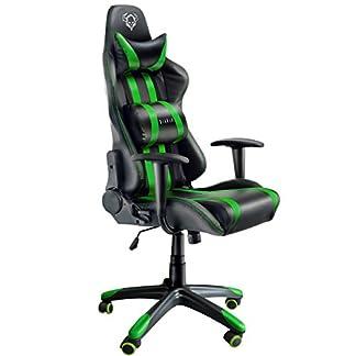 Diablo® X-One Gaming Silla de Oficina Mecanismo de inclinación soporta hasta 150 kg cojin Lumbar y Almohada Cuero sintético (Negro-Verde)