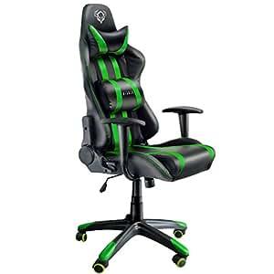 Diablo® X-One Gaming Sedia meccanismo di inclinazione Cuscino Lombare Finta Pelle Portata 150 kg Scelta del Colore (Nero-Verde)