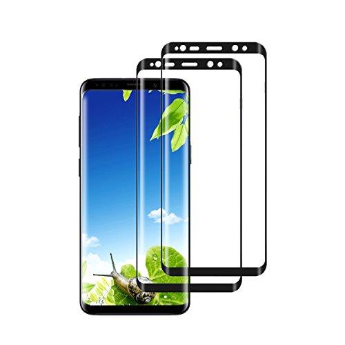 Qissy Galaxy S9 /S9 Plus Plus Schutzfolie(2 Stück),3D Full Cover Premium Gehärtetes Glas Displayschutz 9H Hardness Ultra-Clear Bubble-Free Panzerglasfolie (Schwarz, Samsung Galaxy S9)