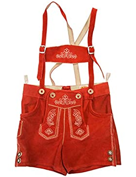 Maddox Country Lederhose Kinder Axel hochwertige Kinderlederhose Jungen Mädchen - in Rot Ziegelrot