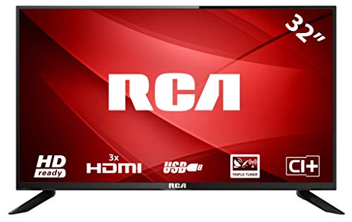 Rca rb32h1: tv led da 80 cm (32 pollici) (hd ready 1.366 x 768, triple tuner, hdmi, ci+, lettore multimediale tramite usb 2.0), nero