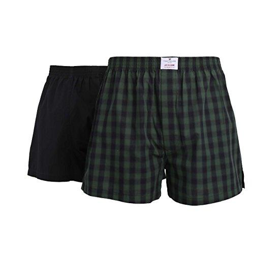 TOM TAILOR Herren Boxershort, Baumwolle, Popeline, grün, kariert, mit Eingriff, 2er Pack 6 (Kariert Boxer Shorts)