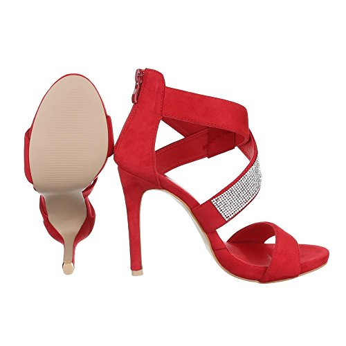 High Heel Sandaletten Damenschuhe Plateau Pfennig-/Stilettoabsatz Strass Reißverschluss Ital-Design Sandalen / Sandaletten Rot